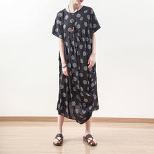 Load image into Gallery viewer, baggy black dotted linen blended caftans plus size O neck baggy dresses boutique short sleeve linen blended dresses