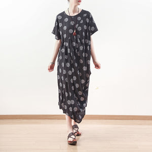 baggy black dotted linen blended caftans plus size O neck baggy dresses boutique short sleeve linen blended dresses