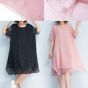 baggy black floral chiffon knee dress oversized traveling clothing Elegant short sleeve layered chiffon dress
