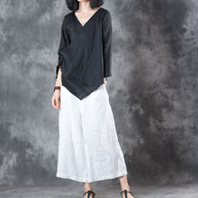 Load image into Gallery viewer, baggy black linen blouse plus size clothing holiday tops vintage half sleeve v neck tie waist linen t shirt