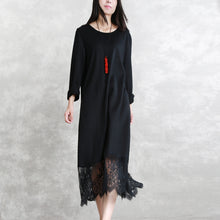 Load image into Gallery viewer, baggy black long wool blended dresses casual O neck patchwork traveling dress Elegant long sleeve lace autumn dress