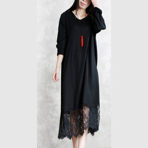 baggy black long wool blended dresses casual O neck patchwork traveling dress Elegant long sleeve lace autumn dress