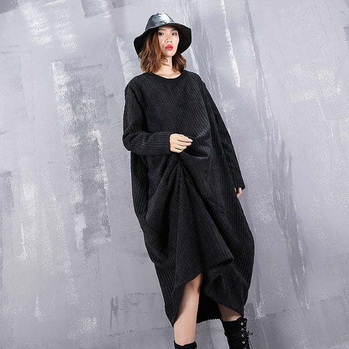 baggy black maxi dress casual O neck traveling dress top quality asymmetric dresses