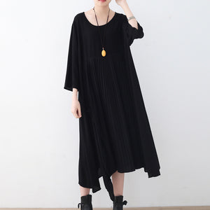 baggy black natural chiffon dress plus size asymmetric hem caftans New o neck gown