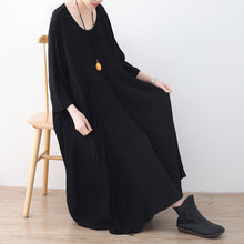Load image into Gallery viewer, baggy black natural chiffon dress plus size asymmetric hem caftans New o neck gown