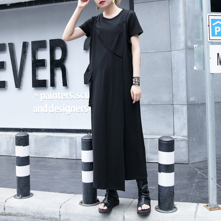 baggy black natural cotton dress trendy plus size casual dress vintage one side long hem sleeveless cotton clothing dress