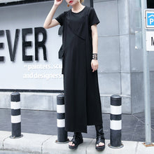 Load image into Gallery viewer, baggy black natural cotton dress trendy plus size casual dress vintage one side long hem sleeveless cotton clothing dress