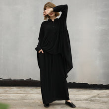 Load image into Gallery viewer, baggy black natural cotton t shirt two pieces Loose fitting stand collar wrinkled holiday tops baggy trousers