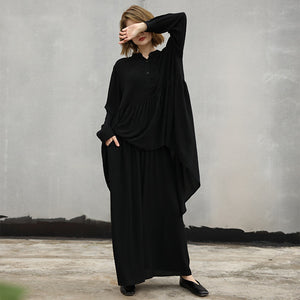baggy black natural cotton t shirt two pieces Loose fitting stand collar wrinkled holiday tops baggy trousers