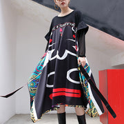 baggy black print long cotton dress casual patchwork tulle tie cotton dress New asymmetric hem dresses