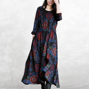 baggy black print natural cotton blended dress plus size clothing O neck pockets cotton blended gown boutique long sleeve tie waist autumn dress