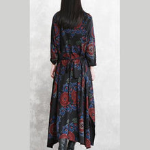 Load image into Gallery viewer, baggy black print natural cotton blended dress plus size clothing O neck pockets cotton blended gown boutique long sleeve tie waist autumn dress
