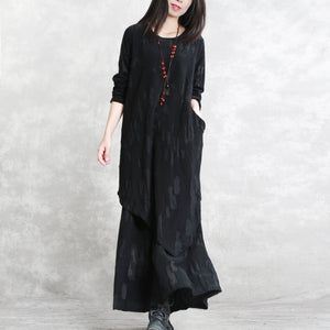 baggy black pure cotton blended blouse plus size two pieces New long sleeve asymmetric o neck Jacquard tops