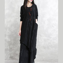 Load image into Gallery viewer, baggy black pure cotton blended blouse plus size two pieces New long sleeve asymmetric o neck Jacquard tops