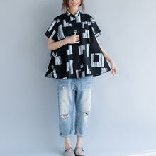 Load image into Gallery viewer, baggy black pure cotton tops trendy plus size linen maxi t shirts boutique Stand short sleeve striped clothing tops