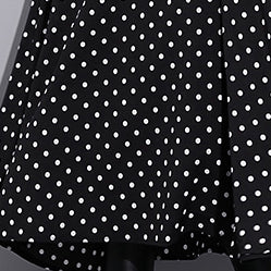 baggy black silk dresses plus size dotted silk clothing dress New stand collar cotton caftans
