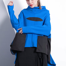 Load image into Gallery viewer, baggy blue cotton blended tops plus size clothing Turtleneck pockets Elegant Batwing Sleeve patchwork cotton blended tops