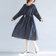 Load image into Gallery viewer, baggy blue cotton linen knee dress plus size traveling clothing 2018 long sleeve large hem O neck dotted knee dresses