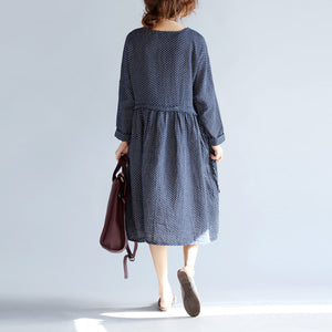baggy blue cotton linen knee dress plus size traveling clothing 2018 long sleeve large hem O neck dotted knee dresses