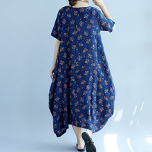 Load image into Gallery viewer, baggy blue floral cotton dresses oversize short sleeve cotton dresses vintage big hem gown