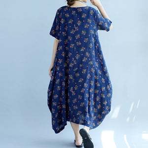 baggy blue floral cotton dresses oversize short sleeve cotton dresses vintage big hem gown
