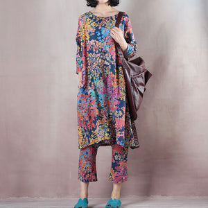 baggy blue floral linen waistcoat plus size shirts New half sleeve o neck natural linen pullover