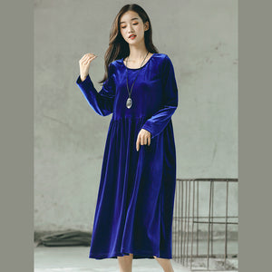 baggy blue natural plus size O neck gown top quality baggy dresses