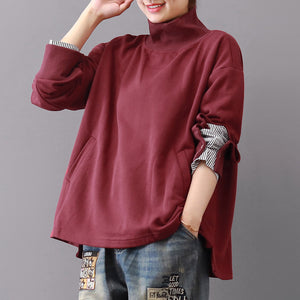 baggy burgundy Midi-length cotton t shirt plus size traveling blouse vintage long sleeve high collar cotton clothing