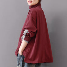 Load image into Gallery viewer, baggy burgundy Midi-length cotton t shirt plus size traveling blouse vintage long sleeve high collar cotton clothing