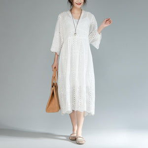 87a276ccd3b baggy cotton sundress plus size Two Pieces Set V Neck Three Quarter Sleeve  White Dress