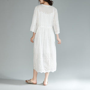 baggy cotton sundress plus size Two Pieces Set V Neck Three Quarter Sleeve White Dress