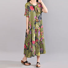 Load image into Gallery viewer, baggy cotton sundress plus size clothing Retro Printed Dresses Summer Short Sleeve Green Dress