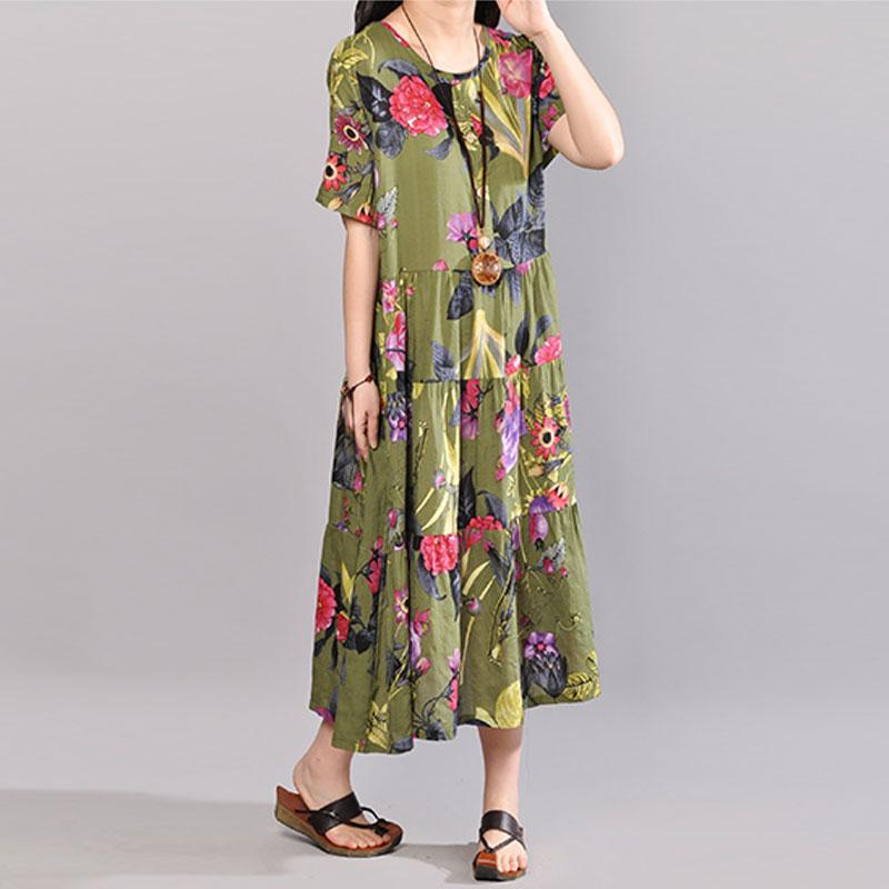 f98a5f49dd88 Load image into Gallery viewer, baggy cotton sundress plus size clothing  Retro Printed Dresses Summer ...