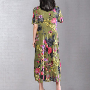 baggy cotton sundress plus size clothing Retro Printed Dresses Summer Short Sleeve Green Dress