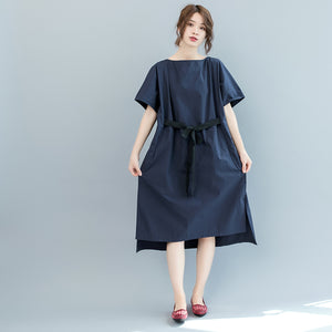 baggy dark blue long cotton dresses plus size o neck tie waist caftans vintage short sleeve dresses