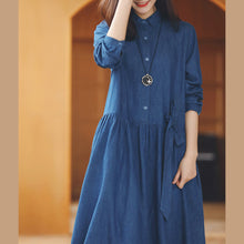 Load image into Gallery viewer, baggy denim blue long cotton linen dresses casual Turn-down Collar tie waist traveling dress top quality long sleeve baggy dresses