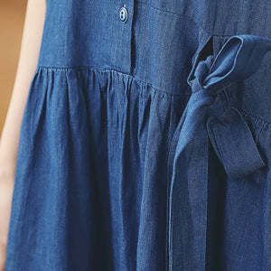 baggy denim blue long cotton linen dresses casual Turn-down Collar tie waist traveling dress top quality long sleeve baggy dresses