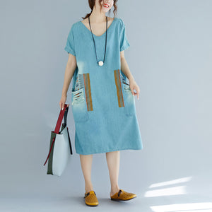 baggy denim blue pure cotton dresses plus size clothing holiday dresses New short sleeve pockets v neck print dress
