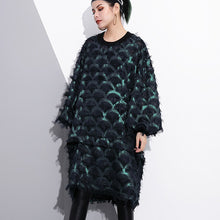 Load image into Gallery viewer, baggy fall plus size dresses lace long sleeve casual O neck baggy dresses