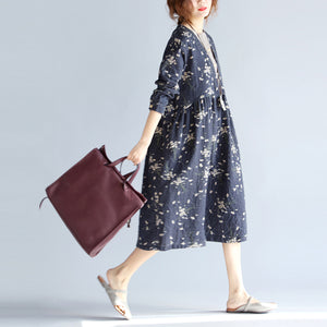 baggy gray blue print cotton linen dress plus size O neck baggy dresses traveling clothing casual long sleeve pockets dresses