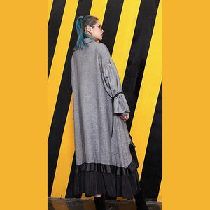 baggy gray lapel patchwork traveling clothing Fine large hem baggy dresses