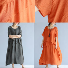 baggy gray long linen dresses oversized layered cotton maxi dress vintage short sleeve cotton clothing