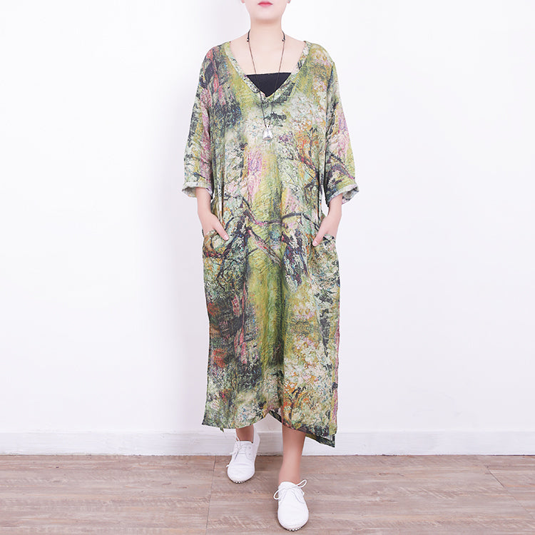baggy green linen maxi dress plus size v neck gown vintage side open caftans