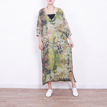 Load image into Gallery viewer, baggy green linen maxi dress plus size v neck gown vintage side open caftans