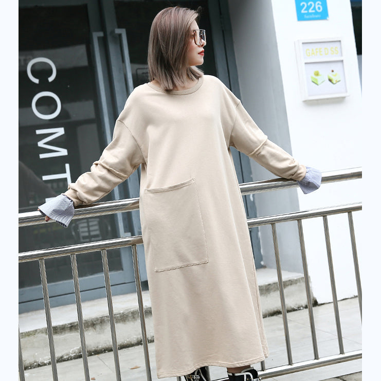 baggy khaki cotton caftans plus size clothing O neck traveling clothing 2018 pockets patchwork autumn dress