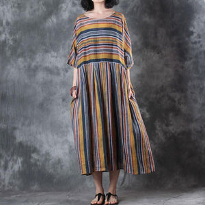 baggy linen summer dress oversize Loose Retro Women Ramie 12 Sleeve Summer Dress