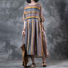 Load image into Gallery viewer, baggy linen summer dress oversize Loose Retro Women Ramie 12 Sleeve Summer Dress