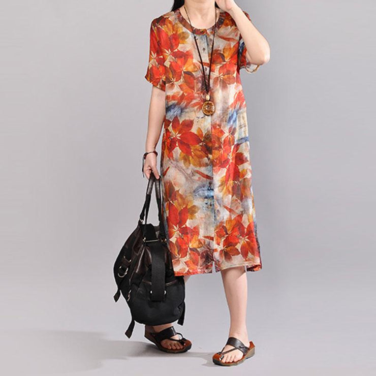 baggy linen summer dress plus size clothing Women Printed Single Breasted Short Sleeve Flax Dress