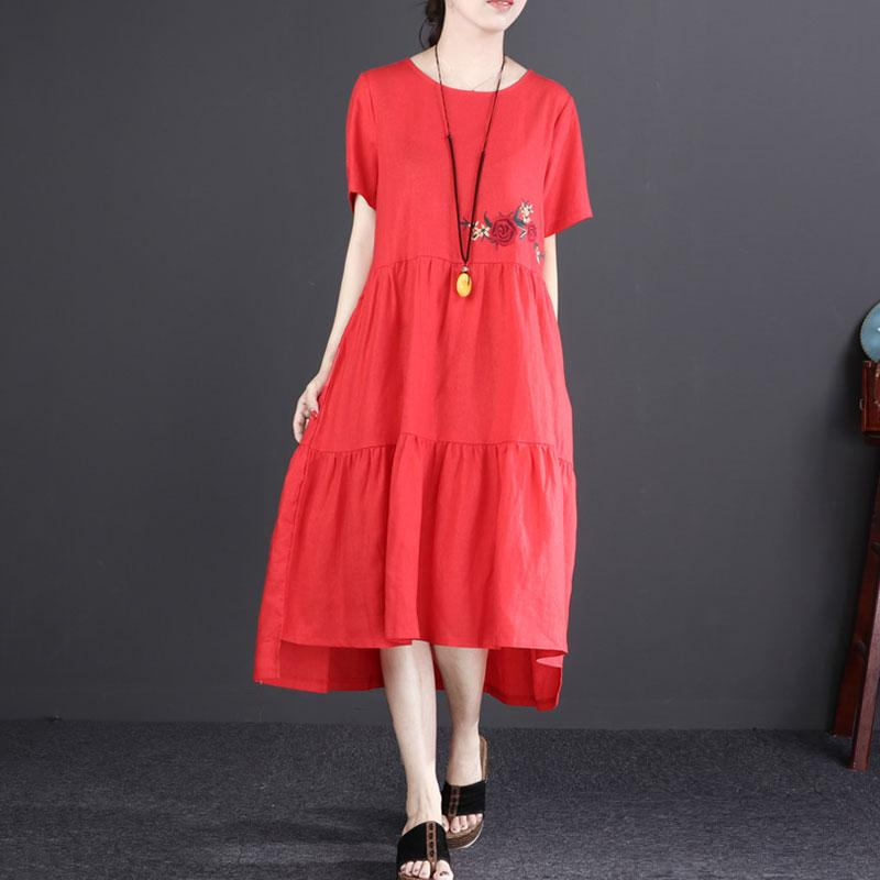 baggy linen sundress stylish Short Sleeve Embroidered Flax Irregular Red Dress