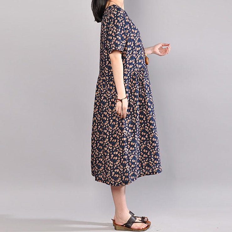 baggy long cotton dress oversized Floral Printed Dresses Summer Round Neck Short Sleeve Dress